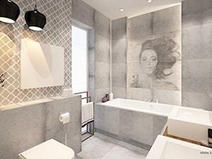 ŁAZIENKA Z ARABESKĄ - Średnia biała łazienka jako domowe spa z oknem, styl nowoczesny - zdjęcie od Klaudia Tworo Projektowanie Wnętrz