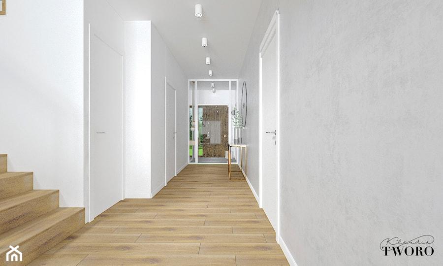Dom w Jarocinie - Średni biały szary hol / przedpokój, styl nowoczesny - zdjęcie od Klaudia Tworo Projektowanie Wnętrz