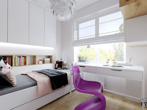 Mieszkanie w Konstantynowie Łódzkim - Mały szary pokój dziecka dla chłopca dla dziewczynki dla ucznia dla nastolatka, styl nowoczesny - zdjęcie od Klaudia Tworo Projektowanie Wnętrz