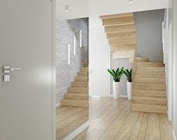 Dom pod Łodzią - Średni biały szary hol / przedpokój, styl nowoczesny - zdjęcie od Klaudia Tworo Projektowanie Wnętrz