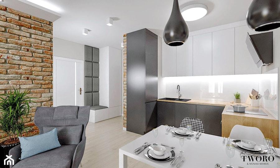Mieszkanie Łódź - Chojny Park - Średnia biała kuchnia w kształcie litery l w aneksie, styl nowoczesny - zdjęcie od Klaudia Tworo Projektowanie Wnętrz