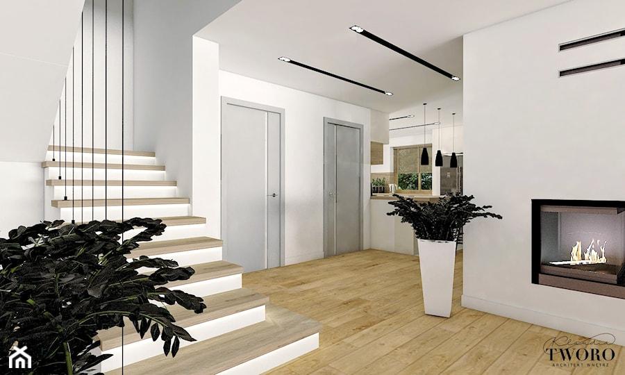 Dom w Ksawerowie - Średni biały hol / przedpokój, styl nowoczesny - zdjęcie od Klaudia Tworo Projektowanie Wnętrz