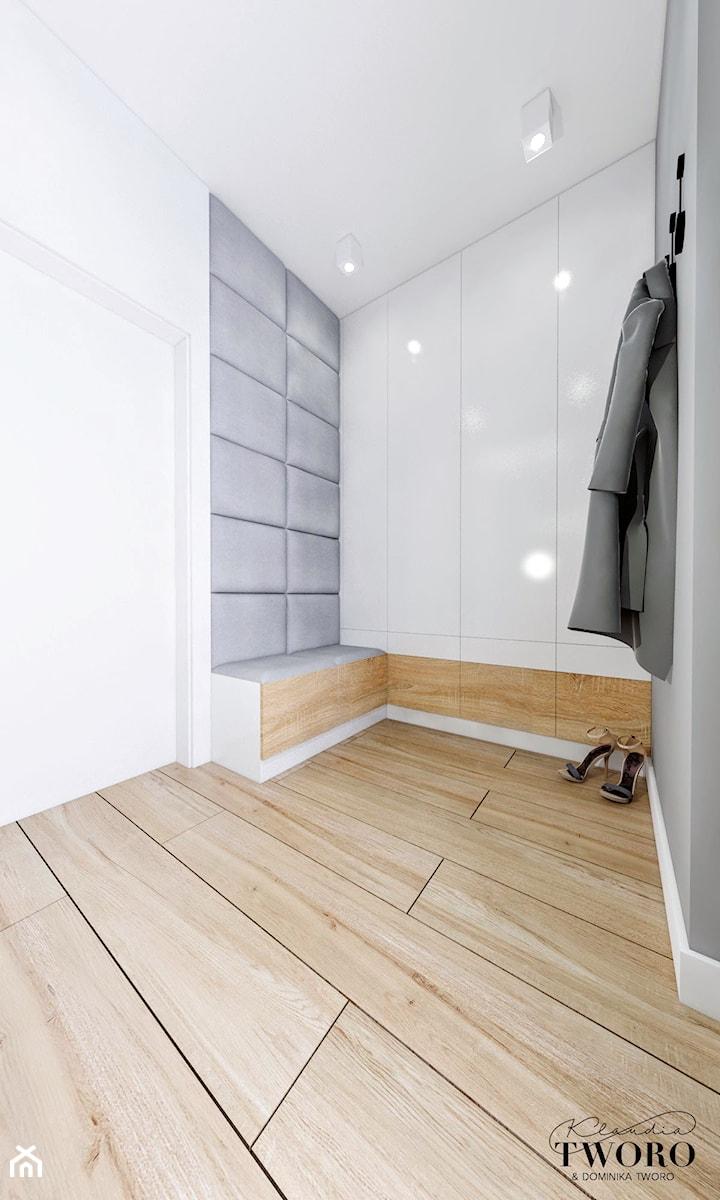 Dom Orońsko - Średni biały szary hol / przedpokój, styl nowoczesny - zdjęcie od Klaudia Tworo Projektowanie Wnętrz