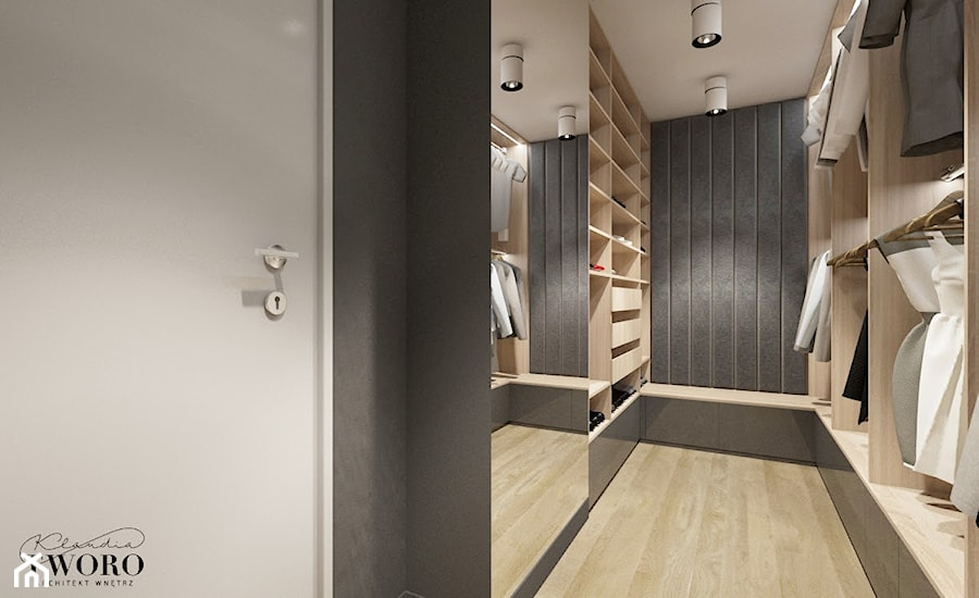 Dom w Ksawerowie - Średnia otwarta garderoba oddzielne pomieszczenie, styl nowoczesny - zdjęcie od Klaudia Tworo Projektowanie Wnętrz
