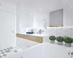 Dom w Jarocinie - Średnia biała łazienka na poddaszu w domu jednorodzinnym z oknem, styl nowoczesny - zdjęcie od Klaudia Tworo Projektowanie Wnętrz