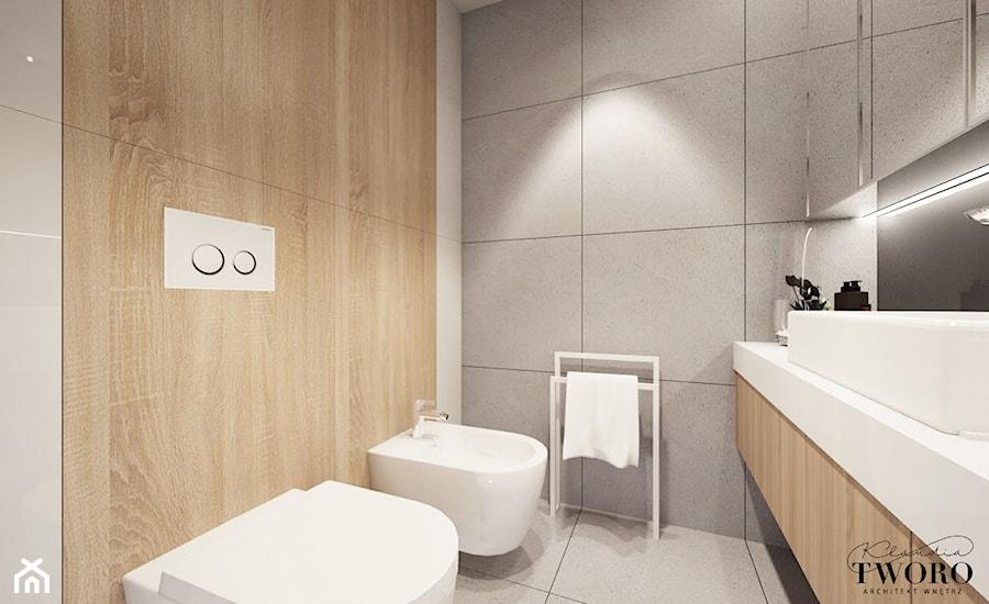 Dom w Ksawerowie - Mała łazienka w bloku w domu jednorodzinnym bez okna, styl nowoczesny - zdjęcie od Klaudia Tworo Projektowanie Wnętrz