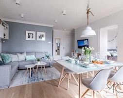 Mieszkanie Targówek - Duży szary biały salon z jadalnią, styl nowoczesny - zdjęcie od Pracownia Architektoniczna Małgorzaty Górskiej-Niwińskiej