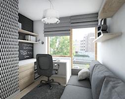 Mieszkanie 92m2 - Małe szare biuro kącik do pracy w pokoju, styl nowoczesny - zdjęcie od Pracownia Architektoniczna Małgorzaty Górskiej-Niwińskiej