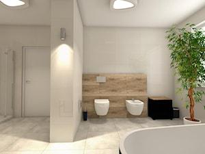 Łazienka z obrazem - Duża łazienka w bloku w domu jednorodzinnym z oknem, styl nowoczesny - zdjęcie od B-projekt Beata Krekora