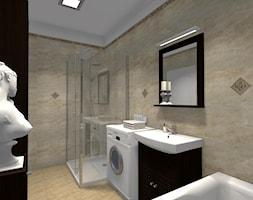 Łazienka w greckim klimacie - Średnia beżowa łazienka na poddaszu w bloku w domu jednorodzinnym bez okna, styl klasyczny - zdjęcie od B-projekt Beata Krekora