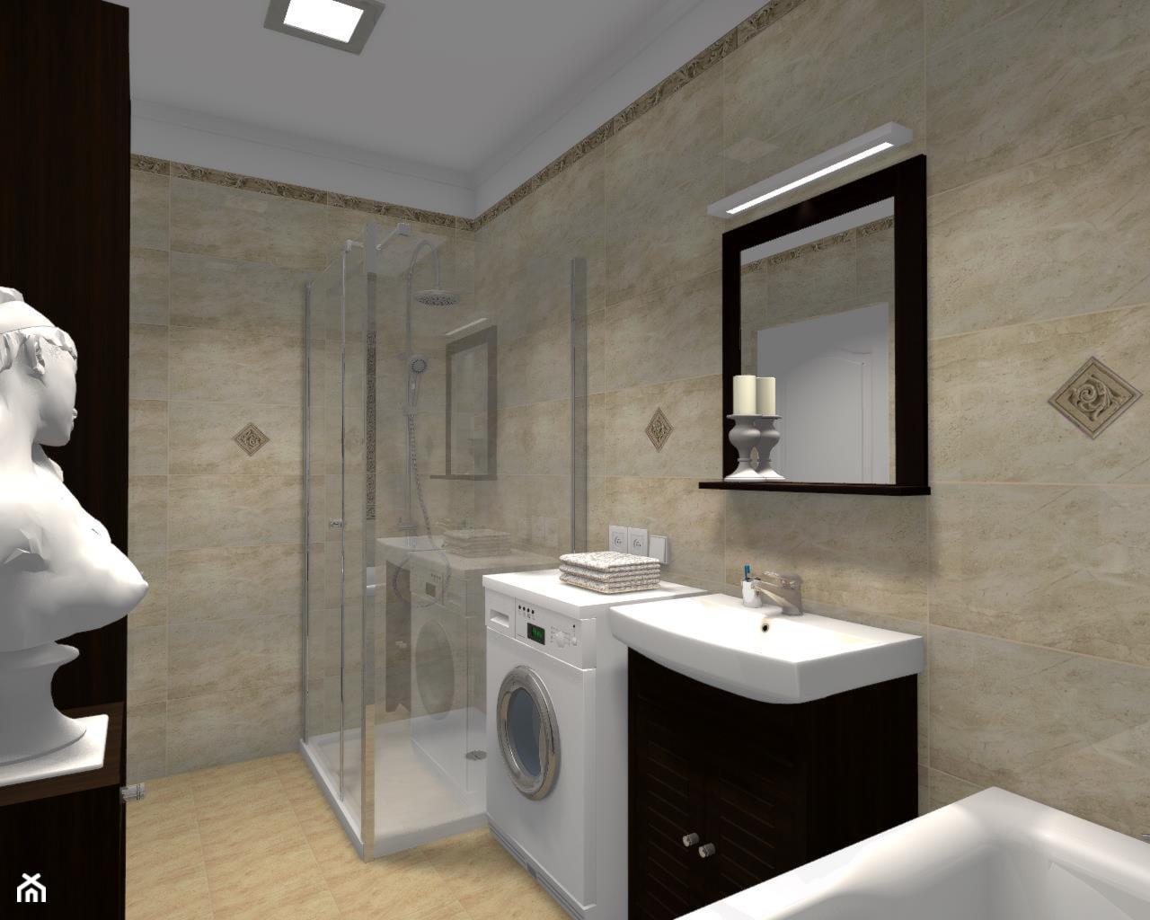 Łazienka w greckim klimacie - Średnia beżowa łazienka na poddaszu w bloku w domu jednorodzinnym bez okna, styl klasyczny - zdjęcie od B-projekt Beata Krekora - Homebook