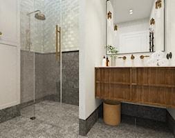 Eklektyczne mieszkanie dla kawalera. - Średnia biała szara łazienka w bloku w domu jednorodzinnym jako salon kąpielowy bez okna, styl vintage - zdjęcie od YAY! ARCHITEKTURA
