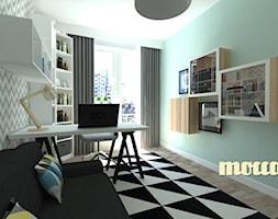 Redłowo - Średnie szare białe miętowe biuro kącik do pracy w pokoju, styl nowoczesny - zdjęcie od MOCCADesign