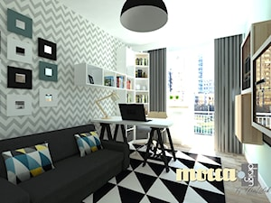 Redłowo - Średnie miętowe biuro domowe kącik do pracy w pokoju, styl nowoczesny - zdjęcie od MOCCADesign