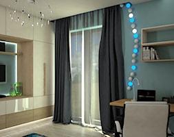 Mały niebieski pokój dziecka dla chłopca dla dziewczynki dla ucznia dla nastolatka, styl nowoczesny - zdjęcie od archJudyta Aranżacja Wnętrz Judyta Grzybek