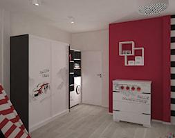 Duży biały czerwony czarny pokój dziecka dla chłopca dla dziewczynki dla nastolatka, styl nowoczesny - zdjęcie od archJudyta Aranżacja Wnętrz Judyta Grzybek