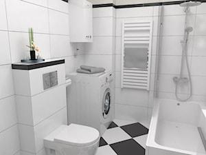 Mała szara łazienka w bloku w domu jednorodzinnym bez okna, styl klasyczny - zdjęcie od archJudyta Aranżacja Wnętrz Judyta Grzybek