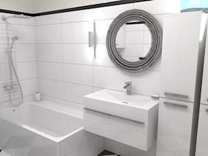 Średnia biała łazienka w bloku w domu jednorodzinnym bez okna, styl klasyczny - zdjęcie od archJudyta Aranżacja Wnętrz Judyta Grzybek