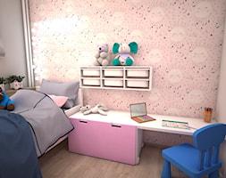 Mały szary różowy pokój dziecka dla chłopca dla dziewczynki dla malucha, styl nowoczesny - zdjęcie od archJudyta Aranżacja Wnętrz Judyta Grzybek