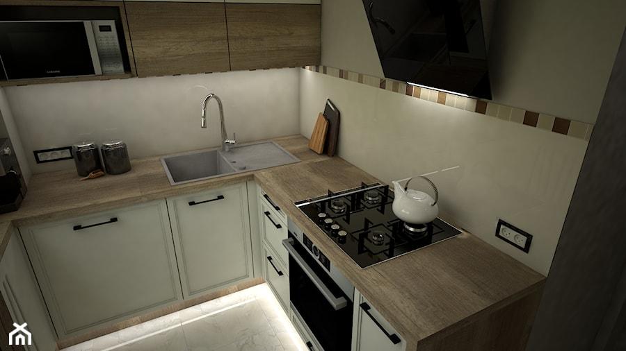 Mała zamknięta szara kuchnia w kształcie litery u, styl eklektyczny - zdjęcie od archJudyta Aranżacja Wnętrz Judyta Grzybek