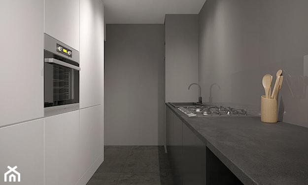 minimalistyczna kuchnia z kamiennym blatem