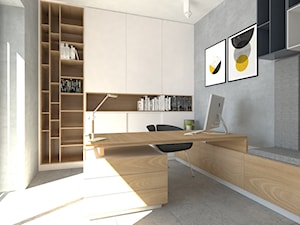 Biuro w domu - Średnie szare biuro domowe kącik do pracy w pokoju, styl nowoczesny - zdjęcie od emilia cieśla | design & interior design