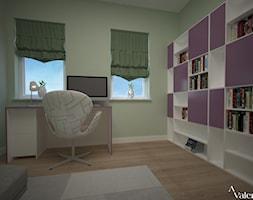 Biuro w domu - Małe zielone biuro domowe kącik do pracy w pokoju, styl nowoczesny - zdjęcie od Aranżacja | Wnętrza | Projekty | Wykończenia domów i mieszkań