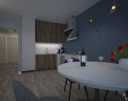 Dom z salonem w stylu industrialnym - Średnia niebieska jadalnia w kuchni, styl industrialny - zdjęcie od Aranżacja   Wnętrza   Projekty   Wykończenia domów i mieszkań