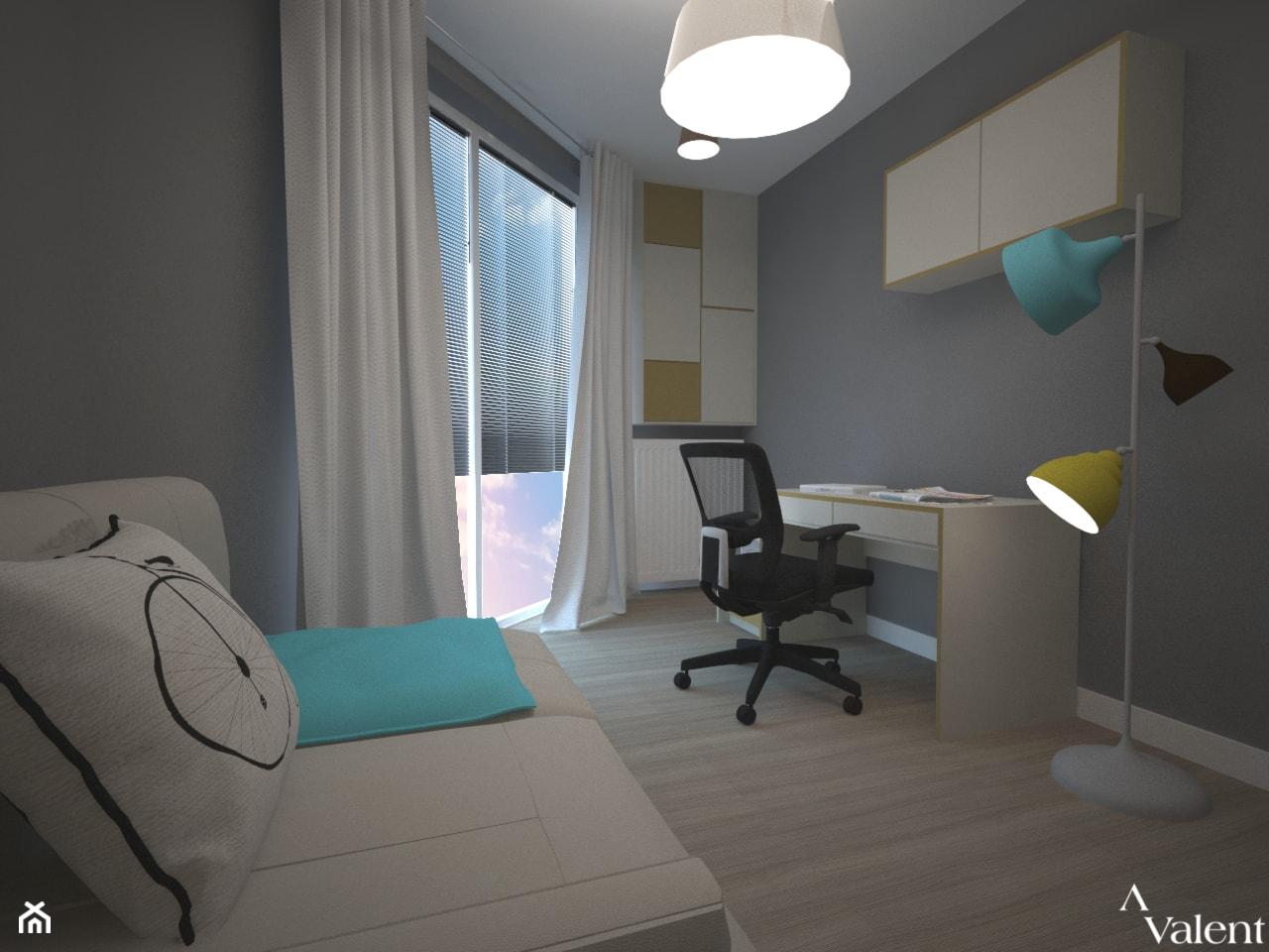 Biuro w domu - Średnie szare biuro domowe kącik do pracy w pokoju, styl nowoczesny - zdjęcie od Aranżacja   Wnętrza   Projekty   Wykończenia domów i mieszkań - Homebook