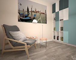 Dom z salonem w stylu industrialnym - Małe beżowe biuro kącik do pracy, styl nowoczesny - zdjęcie od Aranżacja | Wnętrza | Projekty | Wykończenia domów i mieszkań