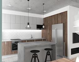 Mieszkanie Wrocław 50 m2 - Średnia otwarta biała kuchnia w kształcie litery l z wyspą, styl industrialny - zdjęcie od RT Studio