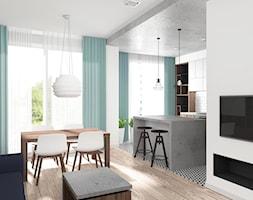 Mieszkanie Wrocław 50 m2 - Mały biały salon z kuchnią z jadalnią, styl industrialny - zdjęcie od RT Studio