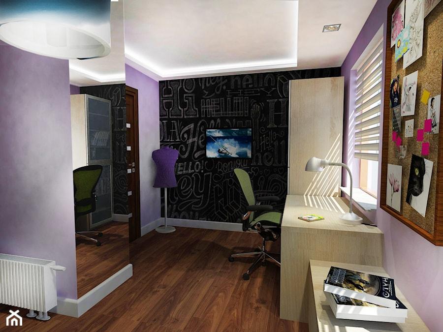 POKÓJ MŁODZIEŻOWY - Mały różowy czarny pokój dziecka dla chłopca dla dziewczynki dla ucznia dla nastolatka, styl klasyczny - zdjęcie od Że Ho Ho projektowanie wnętrz