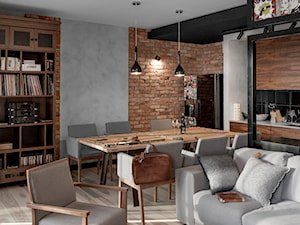 Apartament w Gdańsku - Średnia otwarta jadalnia w kuchni w salonie, styl nowoczesny - zdjęcie od SIKORA