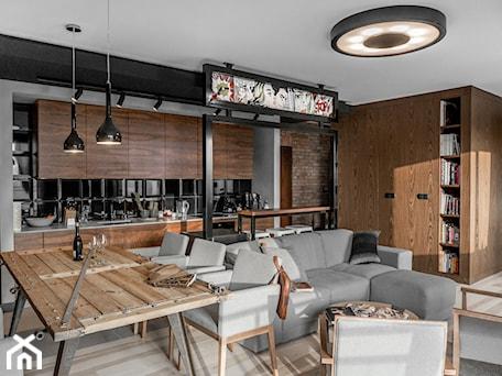Aranżacje wnętrz - Salon: Apartament w Gdańsku - Duży szary salon z kuchnią z jadalnią, styl nowoczesny - SIKORA WNĘTRZA. Przeglądaj, dodawaj i zapisuj najlepsze zdjęcia, pomysły i inspiracje designerskie. W bazie mamy już prawie milion fotografii!