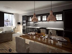 Apartament w Sopocie - Średnia otwarta beżowa jadalnia w salonie - zdjęcie od SIKORA WNĘTRZA