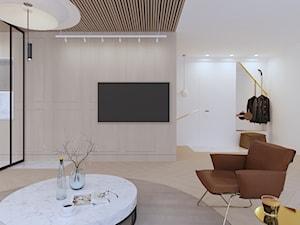 APARTAMENT ELEGANKI - Średni biały salon, styl nowoczesny - zdjęcie od SIKORA WNĘTRZA
