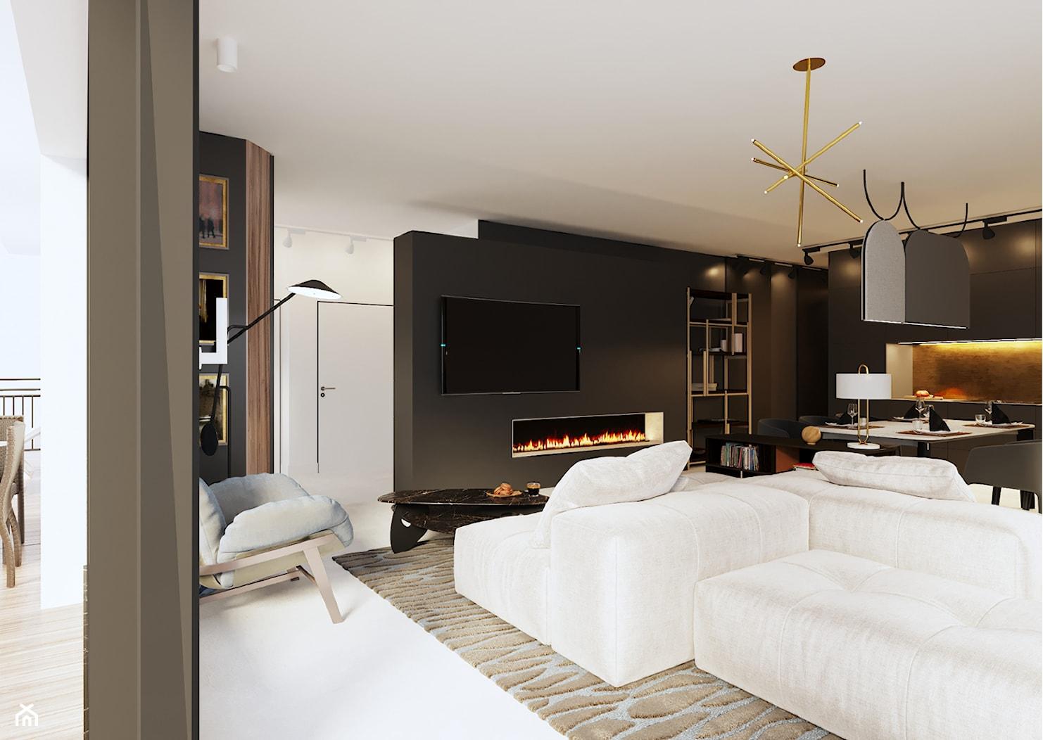 Apartament w Aachen // Niemcy - Duży biały czarny salon z kuchnią z jadalnią, styl nowoczesny - zdjęcie od SIKORA WNĘTRZA - Homebook