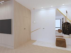 APARTAMENT ELEGANKI - Duży biały hol / przedpokój, styl nowojorski - zdjęcie od SIKORA WNĘTRZA