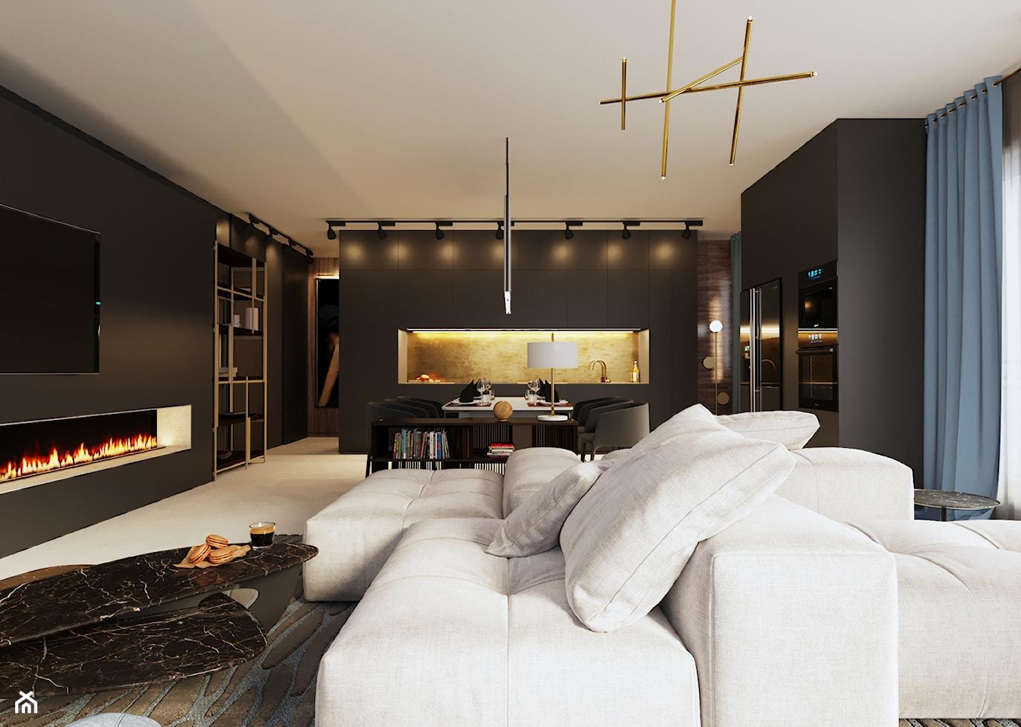 Apartament w Aachen // Niemcy - Mały czarny salon z kuchnią z jadalnią, styl nowoczesny - zdjęcie od SIKORA WNĘTRZA - Homebook