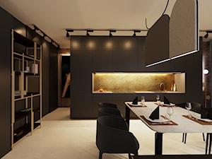 Apartament w Aachen // Niemcy - Duża otwarta szara kuchnia jednorzędowa w aneksie, styl minimalistyczny - zdjęcie od SIKORA WNĘTRZA