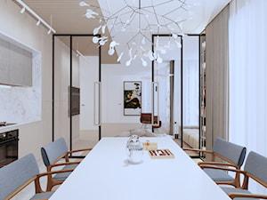 APARTAMENT ELEGANKI - Średnia zamknięta szara jadalnia w kuchni, styl klasyczny - zdjęcie od SIKORA WNĘTRZA