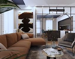 APARTAMENT INDUSTRIAL LOFT - Średni biały salon z kuchnią z jadalnią, styl nowojorski - zdjęcie od SIKORA