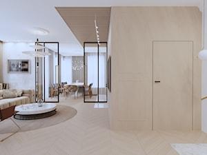 APARTAMENT ELEGANKI - Średni biały salon z jadalnią, styl klasyczny - zdjęcie od SIKORA WNĘTRZA