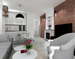 Mieszkanie 50 m2 - Mały biały brązowy salon z kuchnią z jadalnią - zdjęcie od ARTIEGO Lublin- Projekty wnętrz