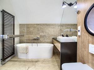 Apartament 140 - Średnia biała szara łazienka na poddaszu w domu jednorodzinnym bez okna, styl minimalistyczny - zdjęcie od emDesign home & decoration