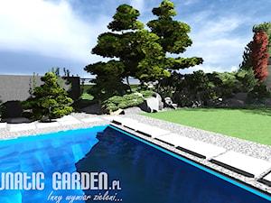 Ogród kamienny z basenem