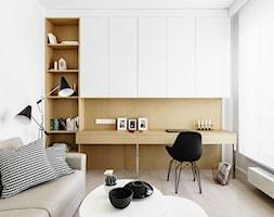Nowe Orłowo 4 - Gdynia - Średnie białe biuro domowe kącik do pracy w pokoju, styl nowoczesny - zdjęcie od Anna Maria Sokołowska Architektura Wnętrz (dawniej Pracownia Projektowa Dragon Art )