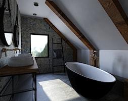 Łazienka na poddaszu - Duża łazienka na poddaszu w domu jednorodzinnym z oknem, styl industrialny - zdjęcie od outt