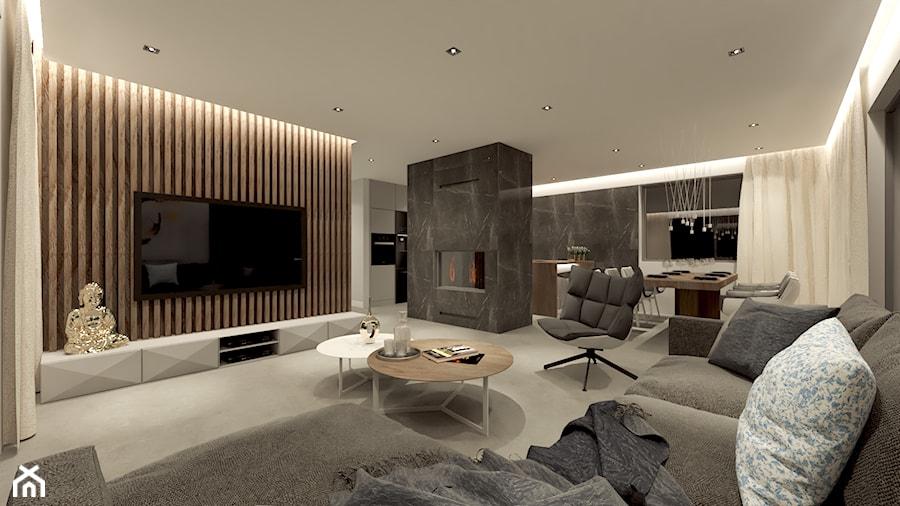 DOM WROCŁAW OPORÓW - Duży biały salon z kuchnią z jadalnią, styl nowoczesny - zdjęcie od INSPIRED DESIGN